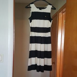 Navy and cream sleeveless dress